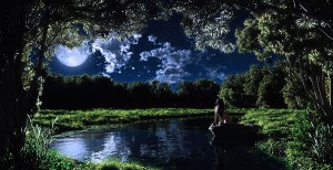art-girl-night-moon-lake-stone-trees-naked-clouds-grass